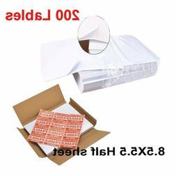 200 Labels Half Sheet Shipping Labels For Laser/Inkjet Print