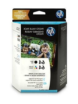 HP 64 Black & Tri-Color Original Ink, 2 Cartridges, and 40 S