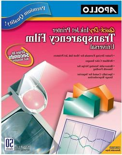 Apollo Transparency Film for Inkjet Printers, Universal, Qui