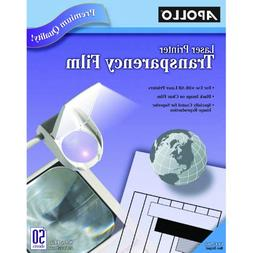 Apollo Transparency Film for Laser Printers, Black on Clear,