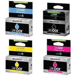 Lexmark 100XL Bundle of Black Cyan, Magenta, Yellow Genuine