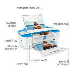 HP DeskJet 3755 All-in-One Printer   White with Blue Accent
