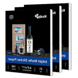 300 Full Sheets 8.5x11 Adhesive Matte Sticker Inkjet Laser P
