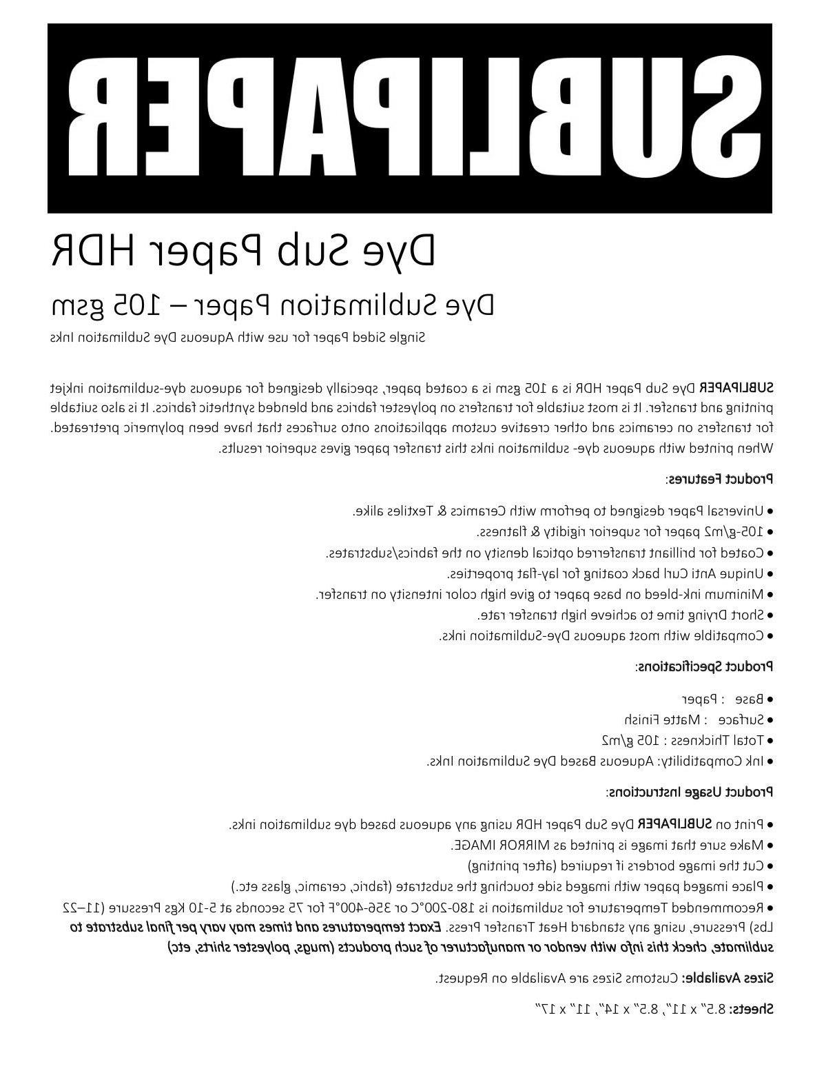 100 Sublimation Ink Transfer Paper All Inkjet