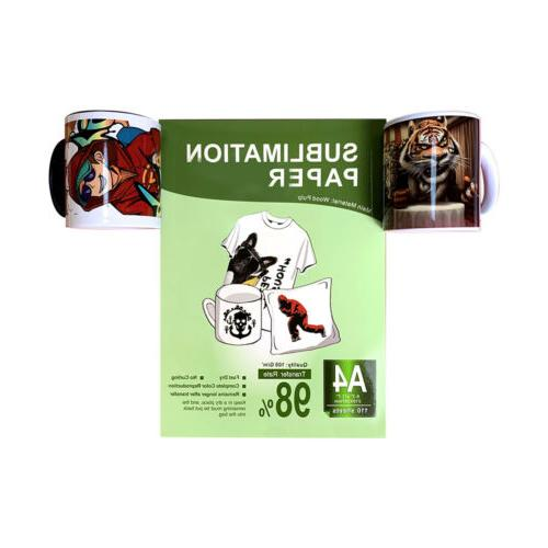 110Pcs A4 Iron Heat Transfer Sublimation for Inkjet T-Shirt Mug
