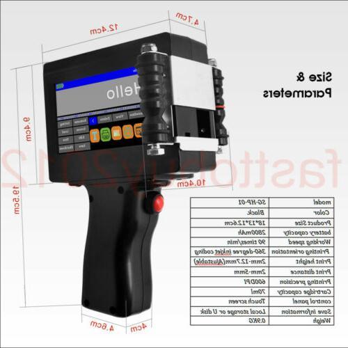 US Handheld Printer 600DPI Date QR Barcode Machine