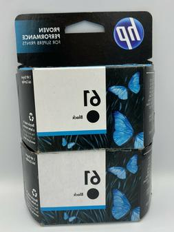 New Genuine HP 61 Dual BLACK Ink Jet Printer Cartridges Twin