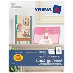 Textured Half-Fold Greeting Cards, Inkjet, 5 1/2 x 8 1/2, Wh