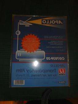 Apollo Transparency Film For Ink Jet Printers 20 Sheets 8-1/